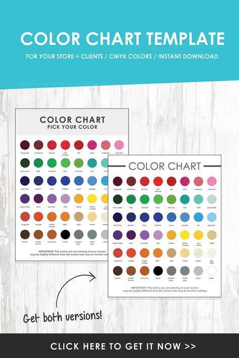 Color Chart Template For Your Store + Clients! Make it easy for - pick chart
