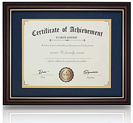 Amazon Com Elsker Home11x14 Document Photo Wood Frame Made For Document Certificates Sized 8 5x11 Inch With Mat And In 2020 Document Frame Certificate Frames Frame
