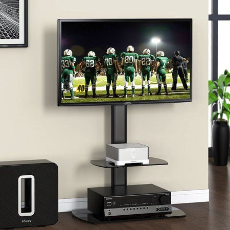 Fitueyes Universal Floor Tv Stand With Swivel Mount And Shelves