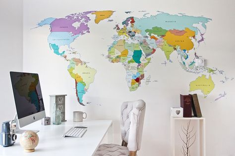 Printed world map wall sticker viajes printed world map wall sticker in by vinyl impression gumiabroncs Image collections