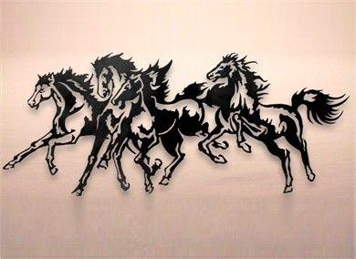 Horse Stampede Metal Wall Art Black Cat Artworks | koníci ...