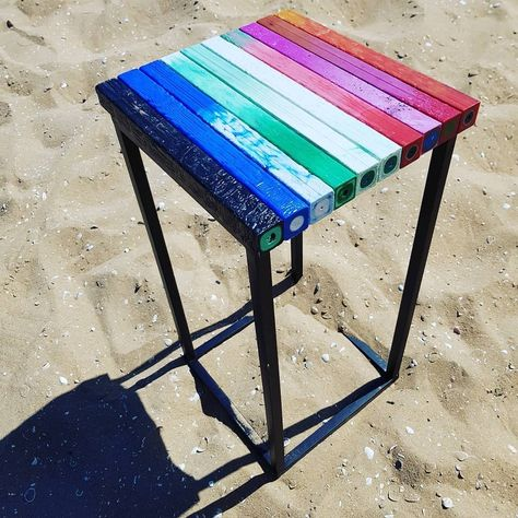 """Green Phenix on Instagram: """"@preciousplasticnl is making some pretty interesting products! Inspired by @mattia.io they created this side table from a metal frame and…"""""""