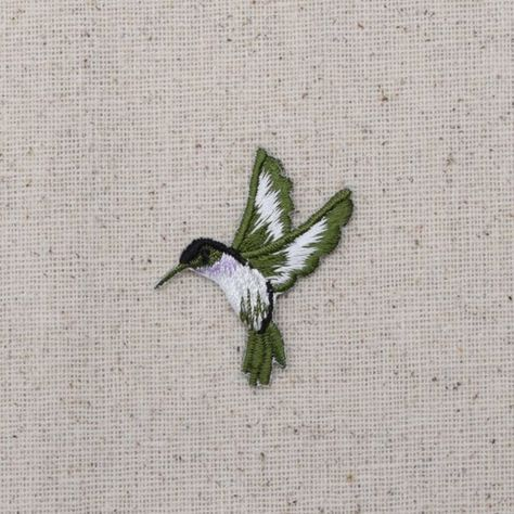 Hummingbird - Small - Lavender Throat - Facing Left - Iron on Applique - Embroidered Patch - 693983-