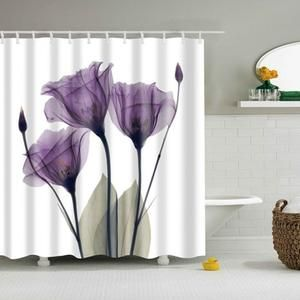 Flower Waterproof Shower Curtain Flower Shower Curtain Tulip