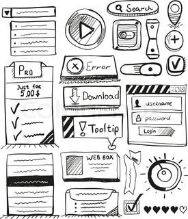 Hand Drawn Vector Set Of User Interface Design Elements Buttons Icons Gui Elements Ticks Switch How To Draw Hands Interface Design User Interface Design