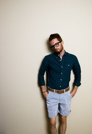 Look de moda: Camisa de Manga Larga Azul Marino, Pantalón