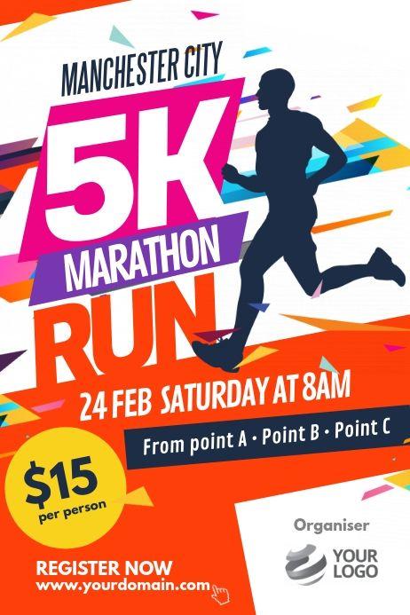 Marathon Run Fun Poster Template Fundraising Poster Marathon Posters Event Poster Design