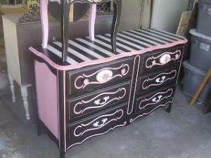 Sold Cutest Black And Pink Rose Dresser