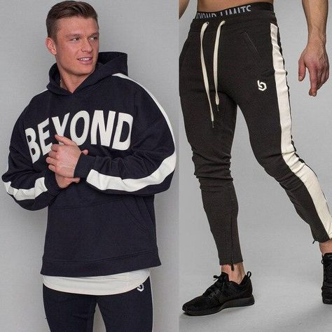 Men/'s Thick Hoodies Bottoms Trackies Sets Pullover Pants Sportswear Jogging Gym