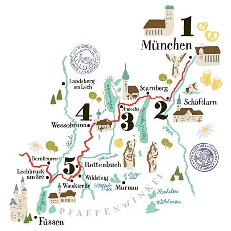 Illustrierte Karte Vom Jakobsweg Bei Munchen Geo Special 3 15