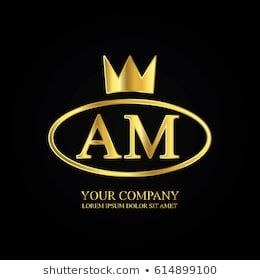 Golden Elegant Am Initial Letter With Crown Typography Design