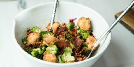 Broccoli Salad With Baked Croutons Recipe With Images Baked