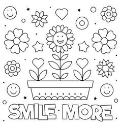 Smile More Coloring Page Of Vector In 2020 Chalk Markers Art Coloring Pages Mindfulness Colouring