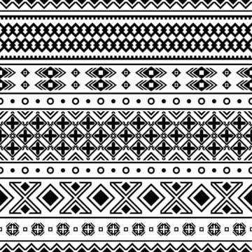 Ikat Geometryczny Ornament Ilustracyjny Projekt Aztec Bezszwowy Deseniowy Plemienny Etniczny Wektor W Czarny I Bialy Kolorze Abstrakcyjny Afrykanin Amerykans Illustration Design Seamless Patterns Tribal Patterns