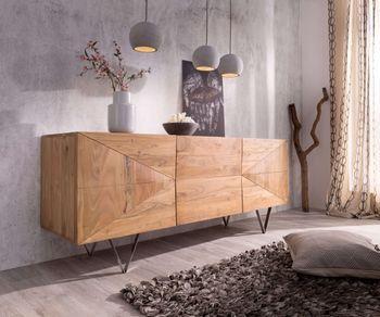 Designer Sideboard Wyatt 175 Cm Akazie Natur Edelstahl Bild 1