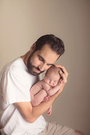 Newborn with daddy orange county ca newborn photography