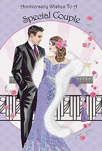 Art Deco Anniversary Wishes To A Special Couple Anniversary Card Amazon Co Uk Office Products Couples Anniversary Anniversary Anniversary Cards