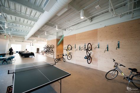 A look inside the Evernote office: employees who ride their bikes to work can hang them on the bike wall.