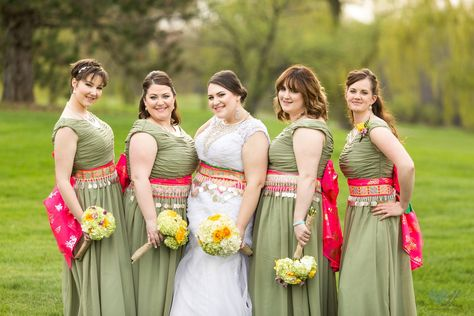 Hmong and American blended traditional wedding attire bridesmaids