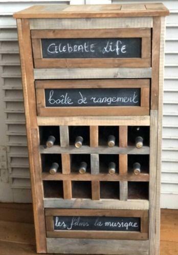 Stoere Sobere Wijnrek Sloophout Wijnkast Kast Ladekast