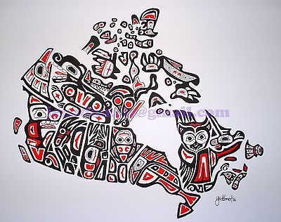 Our Home and Native Land Canadian First Nations Style Art Map of