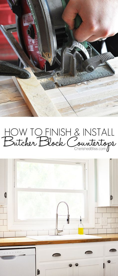 Check out this tutorial on how to install a butcher block countertop from Cherished Bliss!