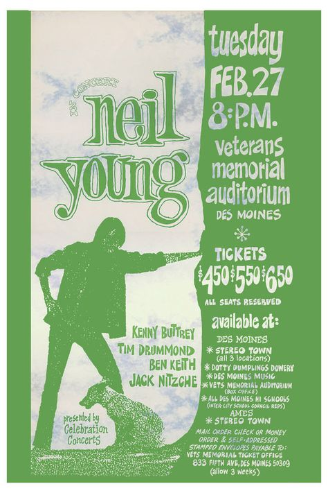 Neil Young concert posters   Neil Young at Veterans Memorial Auditorium Des Moines Concert Poster