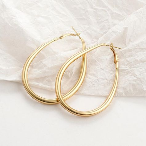 Gold Hoop Earrings - Oval