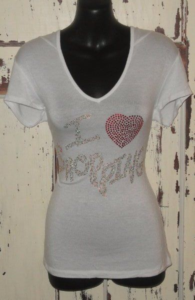 "WOMENS MEDIUM SHIRT TOP SPARKLES BLING ""I LOVE SHOPPING"" MINT CONDITION #JULIA #KnitTop #Casual"