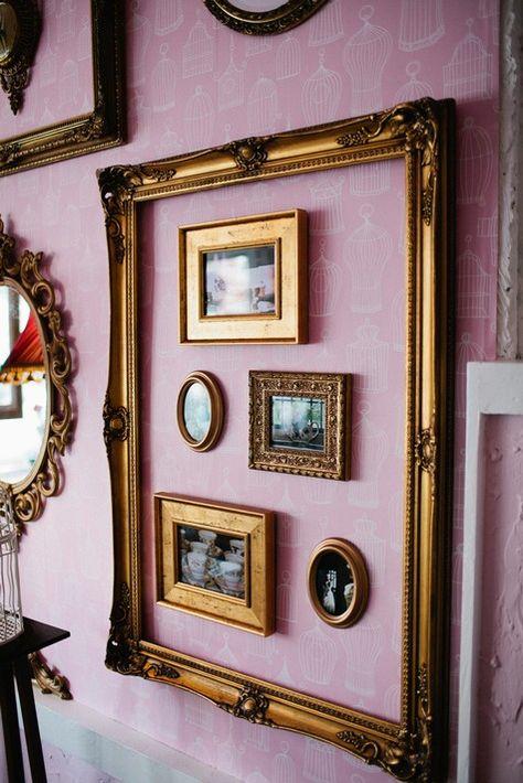 I like the idea of using a larger frame to encompass several smaller frames.  - Orisons Art & Framing