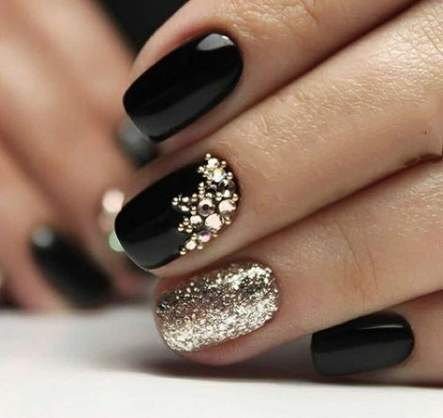 Nails Matte Black Gold Art Designs 49 Ideas With Images Nails