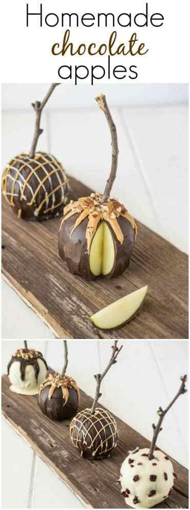 Homemade Chocolate Apples are fun and yummy treat that can be enjoyed anytime of the year and the best part is, you can have fun decorating them. #chocolateapples #appleseason