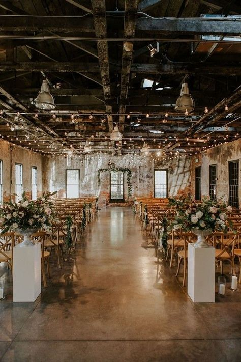 30 Indoor Wedding Ceremony Arches and Aisle Ideas rustic modern industrial wedding ceremony aisle decoration Always aspired to di. ceremony arch 30 Indoor Wedding Ceremony Arches and Aisle Ideas Wedding Ceremony Ideas, Wedding Aisles, Indoor Wedding Ceremonies, Beautiful Wedding Venues, Dream Wedding, Perfect Wedding, Rustic Wedding Venues, Loft Wedding Reception, Reception Entrance