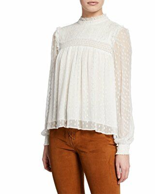 5483110867aaa4 Discover ideas about Chiffon Tops. FRAME Designer Smocked High-Neck  Metallic Long-Sleeve Top