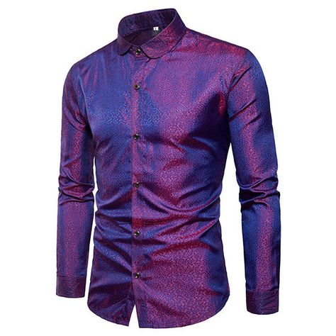Mens Bright Nightclub Turn Down Collar Purple Designer Shirt