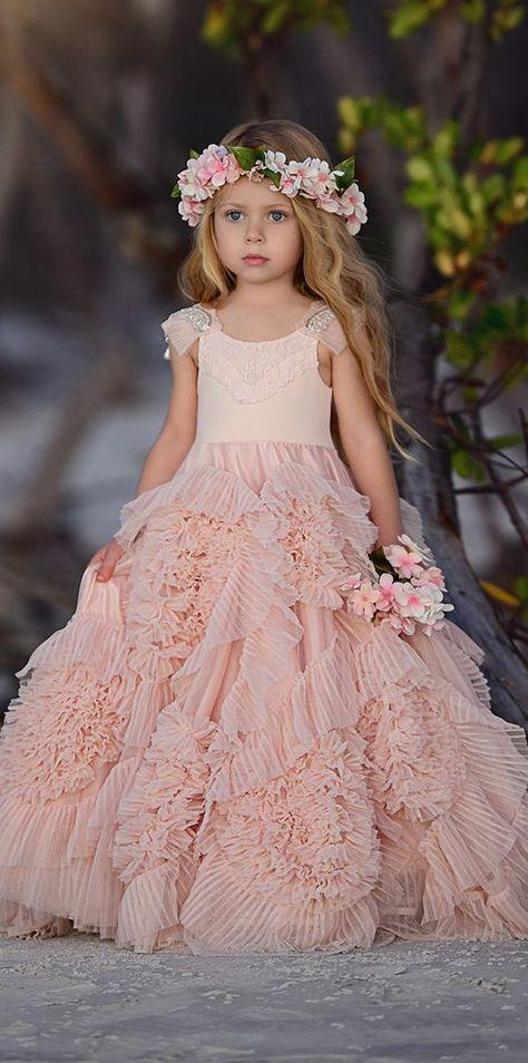 Cute Beaded A-Line Tulle Flower Girl Dresses, Popular Little Girl Princess Dresses