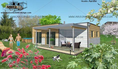 Maison Individuelle Bois Moderne Toit Plat 3 Chambres 70m2 Pas Chere Avec Images Maison Bois