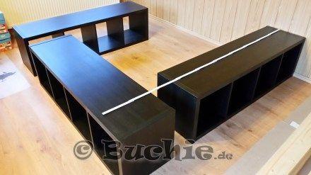 Ikea Hack So Wird Aus Kallax Regalen Ein Bett Ikea Bed Hack Diy Storage Bed Ikea Bed