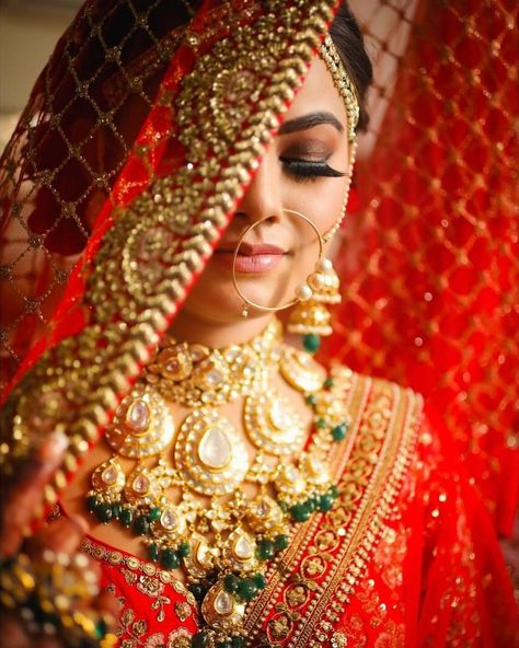 [New] The 10 Best Makeup (with Pictures) - A red veil smokey eye look and awesome jewellery! This gorgeous bride looks no less than a royalty.