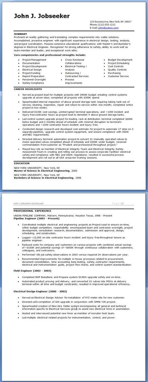 Electrical Engineer Resume Sample dream job Pinterest Resume - electrical engineer resume