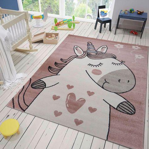 Teppich Bino Ca 160 X 230 Cm Einhorn Pink In 2020 Teppich Beige Teppich Kinderzimmer Und Kinderteppiche