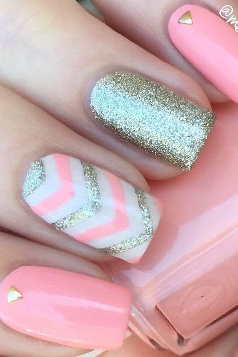 Take a look at 15 beautiful chevron nail designs to try this summer in the photos below and get ideas for your own amazing manicures! How lovely is this neon orange with white gold and mint? Chevron Nail Designs, Diy Nail Designs, Pink Chevron Nails, Chevron Nail Art, Glitter Chevron, Summer Manicure Designs, Nail Designs For Kids, Cute Summer Nail Designs, Different Nail Designs