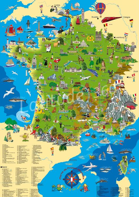 géo - France-carte-de-France-illustrée-la-France-dessinée-France-Europe - bcp de cartes différentes