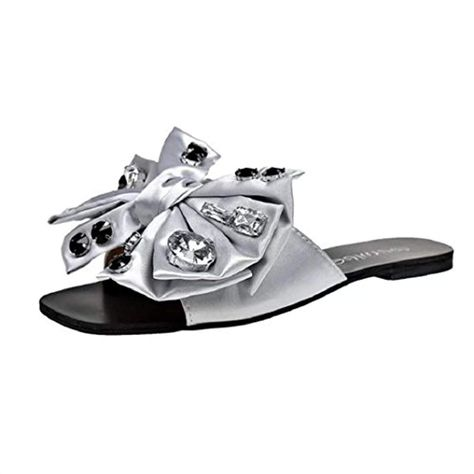 ShenPr Womens Casual Flat Sandals Big Bow Tie Rhinestone One