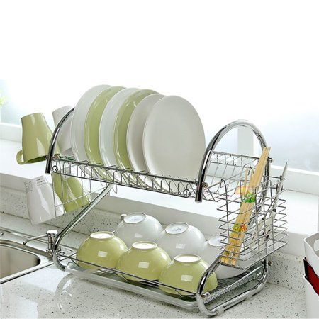 Kitchen Dish Cup Drying Rack Holder Drainer 2-Tier Dryer Stainless Steel Silver