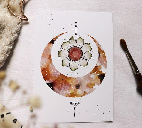 Lot De 3 Cartes Lunaires Lune Dessin Lunaire Carte Postale