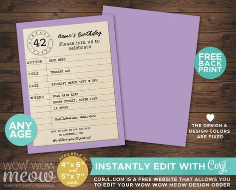 Library Card Birthday Invitation Instant Download Party Reading