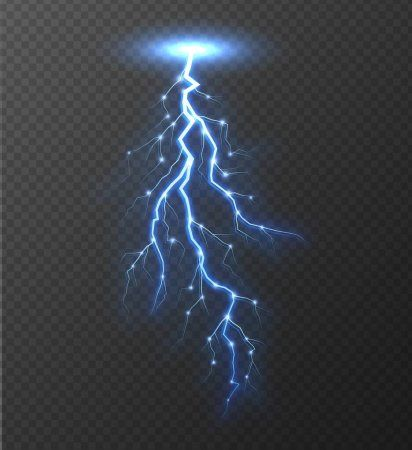 Realistic Lightning Bolt Isolated On Transparent Background