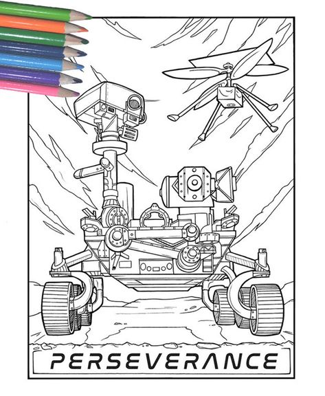 Mars Perseverance Rover Space Science Tech Coloring Page for | Etsy A coloring page for the 2021 countdown to mars landing! #mars2021 #marsrover #ingenuity #perseverancerover #perseverance #nasa #nasamars