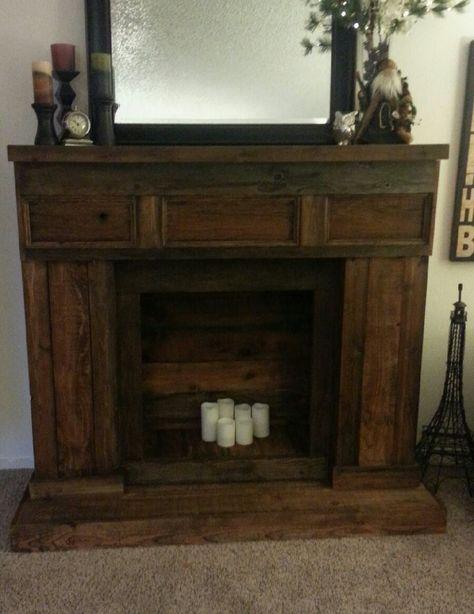 Reclaimed wood fireplace.